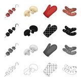 Junket, ounket, recreation and other web icon in cartoon style.Shish ,kebab, meat, icons in set collection. Royalty Free Stock Photos