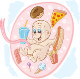 Junkfood baby. Baby in tummy eating junkfood stock illustration