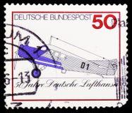 Junkiery F13 1926, pierwszy Lufthansa pasażerski samolot, Lufthansa linii lotniczej Niemiecki cywilny seria około 1976, obrazy stock