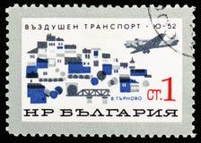Junkiery Ju52/3 nad Weliko Tarnovo, rozwój Bułgarski Cywilny Lotniczy seria około 1965, zdjęcia stock