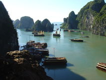 Junks on Along Bay. Panoramic of Along Bay in Vietnam Stock Images