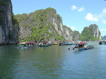 Junks on Along Bay. Panoramic of Along Bay in Vietnam Royalty Free Stock Photo