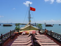 Junks on Along Bay. Panoramic of Along Bay in Vietnam Royalty Free Stock Photos