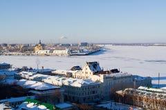 Junktion dei fiumi di Oka e del Volga Fotografia Stock Libera da Diritti