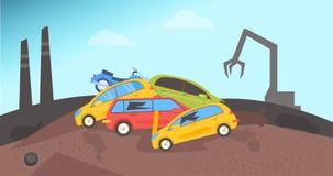 junkyard Απόρριψη για τα αυτοκίνητα ελεύθερη απεικόνιση δικαιώματος