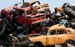 Junkyard. The number of crashed autos in the heap Stock Photography