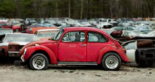 Junkyard abandoned cars in junkyard graveyard Stock Image