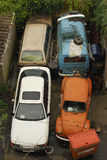 Junkyard Cars. Overhead view of abandoned vehicles Royalty Free Stock Images