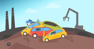 Junkyard. Dump for cars. Flat Vector Catoon royalty free illustration