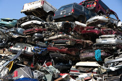 Junkyard flattened cars Stock Image