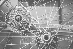 Junkyard Images. Spokes on an old bicycle frame. Replicating the faded photos of the 70's and early 80's, these images are taken at a local royalty free stock photography