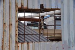 Junkyard Window stock photo