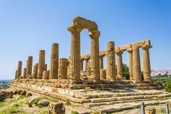 Ναός αρχαίου Έλληνα του Θεού της Juno, Agrigento, Σικελία, Ιταλία Στοκ Εικόνες