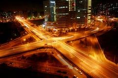 Junção transversal na noite Fotografia de Stock