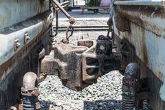 Junta vieja del acoplador del coche de tren Fotos de archivo libres de regalías