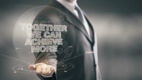 Juntas podemos alcanzar más tecnologías disponibles de Holding del hombre de negocios nuevas almacen de video