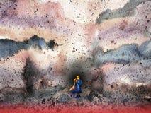 Junte al amante en el ejemplo de la pintura de la acuarela de la escena del campo de batalla ilustración del vector