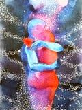 Junte al amante que abraza en extracto del universo importan libremente, dentro de su mundo ilustración del vector