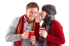 Junte ambo tener bebidas calientes Imagen de archivo