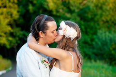 Junte besarse Fotografía de archivo libre de regalías