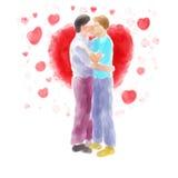 Junte besarse Foto de archivo