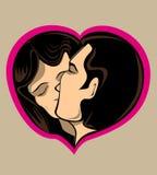 Junte besarse en corazón del amor Imagen de archivo