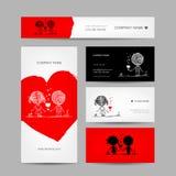 Junte besarse, tarjetas de la tarjeta del día de San Valentín para su diseño Foto de archivo libre de regalías