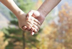 Junte caminar en el parque del otoño que lleva a cabo las manos Imágenes de archivo libres de regalías