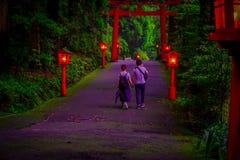 Junte caminar y llevar a cabo sus manos en la opinión de la noche del acercamiento a la capilla de Hakone en un bosque del cedro  foto de archivo