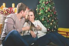 Junte el árbol de navidad adornado cercano joven que celebra Año Nuevo Fotos de archivo