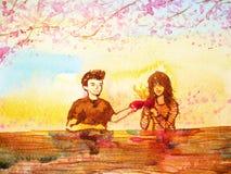 Junte el café de consumición por la mañana, pintura del amante de la acuarela stock de ilustración
