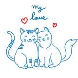 Junte el gato en la línea ejemplo de amor del vector del arte libre illustration