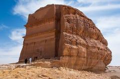 Junte inscribir una tumba de Nabatean en Madaîn Saleh s arqueológico Imagenes de archivo
