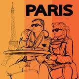 Junte la consumición de un vidrio de vino cerca de la torre Eiffel en París ilustración del vector