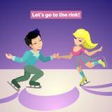 Junte la muchacha en vestido y el paseo del individuo en pista de hielo Foto de archivo