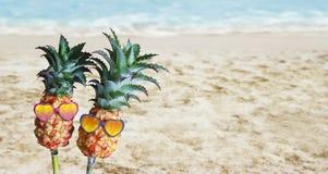 Junte las piñas con las gafas de sol en la arena en la playa Foto de archivo libre de regalías