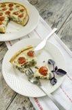Junte las piezas de la tarta con los tomates, el queso y las cebollas de cereza en la placa blanca Fotos de archivo