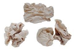 Junte las piezas del marrón de la servilleta de papel, aislado en el fondo blanco con la trayectoria de recortes Imagen de archivo