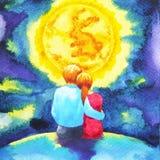 Junte a los amantes que miran la acuarela de la Luna Llena el pintar romántica libre illustration