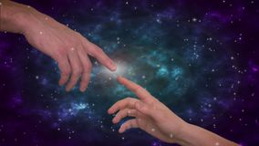 Junte los fingeres conmovedores con brillar intensamente, luz del concepto de la vida del cerebro Universo en fondo ilustración del vector