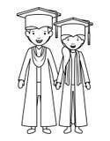 Junte a los graduados con los sombreros stock de ilustración