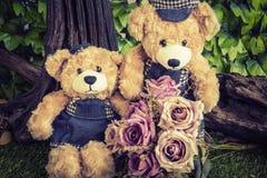 Junte los osos de peluche con subió en el jardín Imagen de archivo