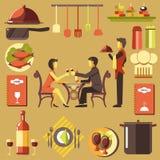 Junte pasar tiempo en el restaurante y el camarero cerca ilustración del vector