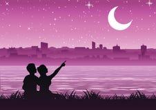 Junte señalar a la luna sobre la ciudad cerca de una orilla, si stock de ilustración