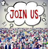 Junte-se nos conceito do negócio do apoio do convite foto de stock royalty free