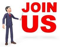 Junte-se nos indica assinam acima e rendição da aplicação 3d Imagem de Stock Royalty Free
