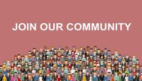 Junte-se a nossa comunidade Multid?o de povos unidos como um neg?cio ou da comunidade criativa que est? junto Temp liso do Web si ilustração royalty free