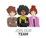 Junte-se a nossa equipe Povos unidos como um negócio ou a comunidade criativa que está junto Molde liso do Web site do vetor do c ilustração stock