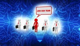 Junte-se a nosso Team Concept no fundo branco, junte-se a nossa comunidade 3d rendem ilustração do vetor