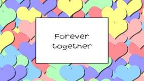 Junto ame para siempre la tarjeta con los corazones en colores pastel del arco iris como fondo, enfoque adentro metrajes